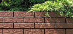 Искусственный камень Термопанель фасадная с клинкерной плиткой Burgund 9577 Rustic/структурная. Размер 890*610 мм: